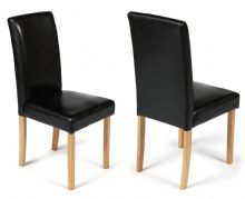Pair of Black Torino Faux Leather Chairs 1/2 Price Deal